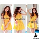 Charming Mini dress Layer Trim, Partysu Korea (สีเหลือง)