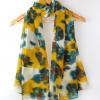 ผ้าพันคอชีฟอง ลายหมึกภาพวาดสีน้ำเงินเหลือง