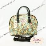 กระเป๋า Chalita wu + สายสะพาย โค้ง สีเขียว ลายนาฬิกา