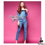 Lady Missy Denim Off-shoulder Set
