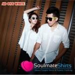เสื้อคู่ เสื้อคู่รัก ชุดคู่รัก เสื้อคู่รักเกาหลี เสื้อผ้าแฟชั่น ชาย+หญิง เสื้อเชิ๊ตสีขาว ผู้หญิงแขนทรงปีกค้างคาว เก๋มากค่ะ