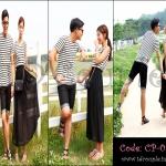 PRE-ORDER ชุดคู่รัก น่ารักๆ แฟชั่นเกาหลีฤดูร้อนลายทาง ญ.เดรสยาว/ช.เสื้อยืดแขนสั้น