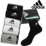 PRE-ORDER เซตถุงเท้ายาวผ้าฝ้าย ปักลายแบรนด์ adidas 5คู่/กล่อง