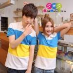เสื้อคู่รัก ชุดคู่รัก เสื้อคู่ เสื้อโปโลคู่รักผ้าฝ้าย เนื้อนิ่ม คุณภาพสูง สีชมพูม่วง สีฟ้าเหลือง