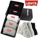 PRE-ORDER เซตถุงเท้ายาวผ้าฝ้าย ปักลายแบรนด์ Levi's (ลีวายส์) 5คู่/กล่อง